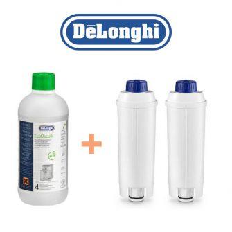Pack Entretien DeLonghi 1 – 1 EcoDecalk 500 ml + 2 Filtres